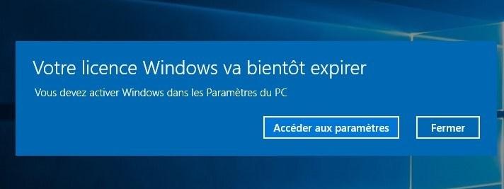 votre licence windows va bientôt expirer