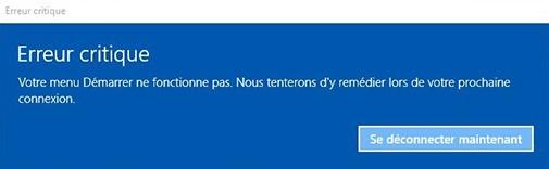 erreur critique windows 10 le menu démarrer et cortana ne fonctionnent pas